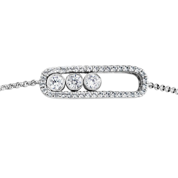 Past, Present, Future Sliding CZ Silhouette Rhodium Plated Sterling Silver Bolo Bracelet, 8""