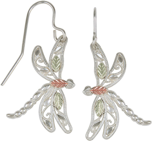 Filigree Dragonfly Earrings, Sterling Silver, 12k Green Gold, 12k Rose Gold Black Hills Gold
