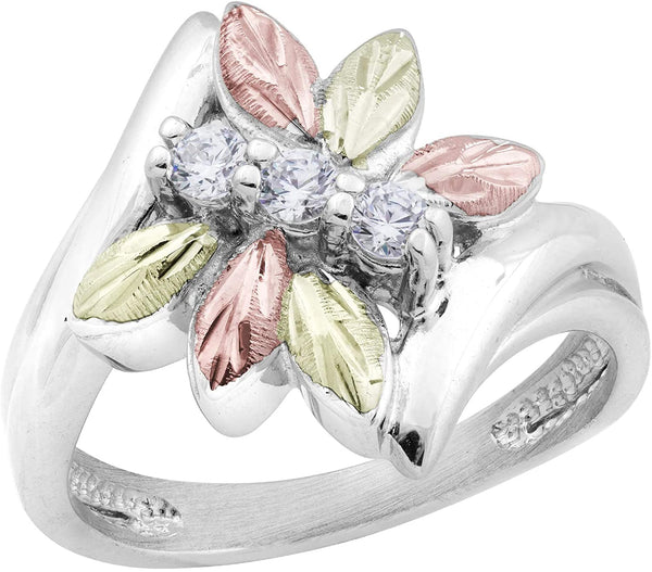 Rhodium-Plated Sterling Silver Six Leaf CZ Dragonfly Bypass Ring, 12k Rose and Green Gold Black Hills Gold Size 9