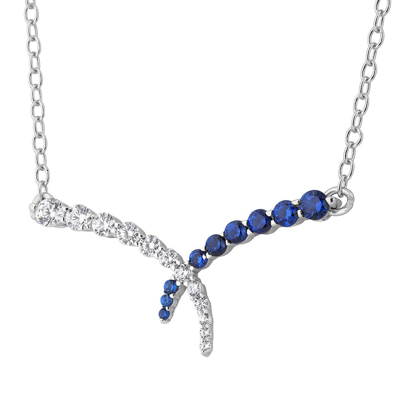 Bodacious Blue CZ and White CZ Split Chain Pendant Necklace, Rhodium Plated Sterling Silver, 18""