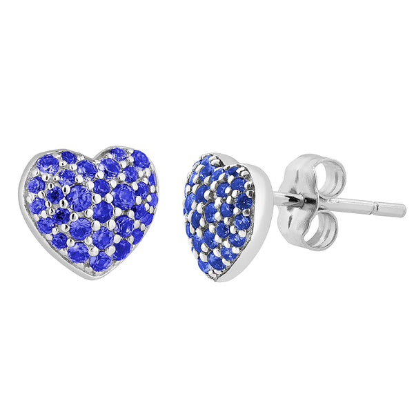 Bodacious Blue CZ Heart Stud Earrings, Rhodium Plated Sterling Silver