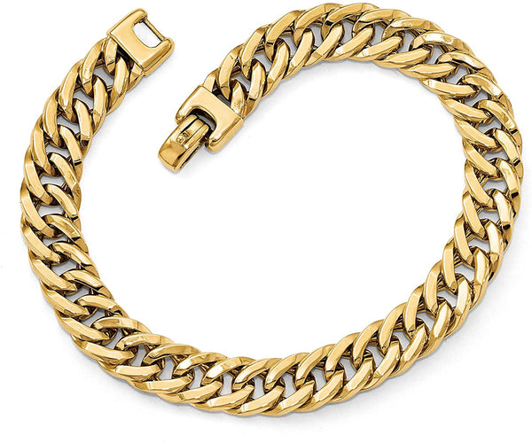 Men's Italian 14k Yellow Gold 9mm Cuban Link Bracelet, 8 Inches (1.00 Ctw)