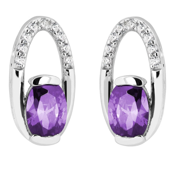 Purple Passion CZ Oval Stud Earrings, Rhodium Plated Sterling Silver