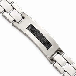 Men's Stainless Steel 18mm Black Diamond Bracelet, 8.25 Inches (.50 Ctw)