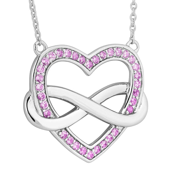 Precious Pink CZ Infinity Heart Pendant Necklace, Rhodium Plated Sterling Silver, 18""