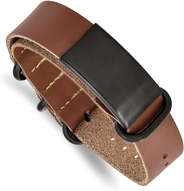 Men's Brown Leather, Brushed Black IP, Stainless Steel Adjustable ID Buckle-Clasp Bracelet
