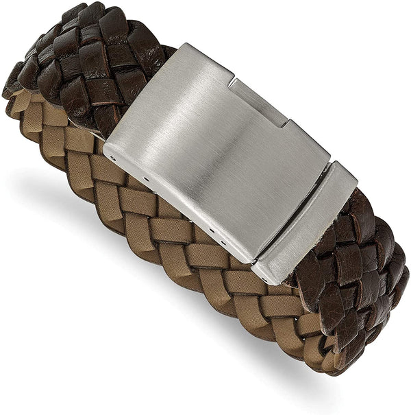 Men's Brown Leather Brushed Stainless Steel Buckle- Clasp Bracelet, 9 Inches