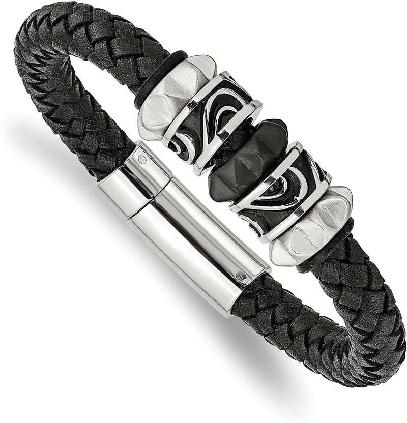 Men's Black Leather, Brushed Black IP, Stainless Steel Magnetic-Clasp Bracelet, 8.5 Inches