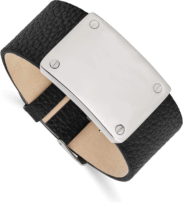 Men's Black Leather Stainless Steel Buckle-Clasp Bracelet, 8.5 Inches