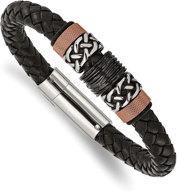 Men's Black Rubber and Braided Leather Black IP, Brown IP, Antiqued Stainless Steel Bracelet, 8.5 Inches