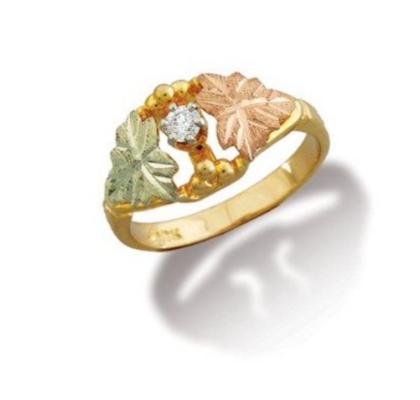 10k Yellow Gold Diamond Black Hill Gold Leaf Ring, 12k Green and Rose Gold