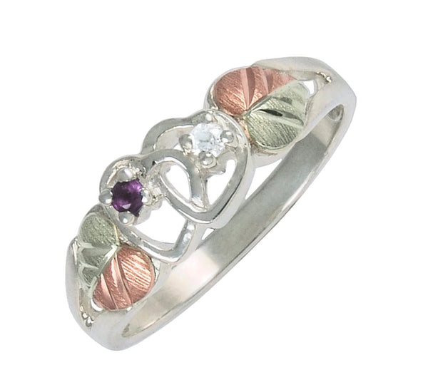 Rhodium-Plated Sterling Silver Amethyst and Diamond Double Hearts Ring in Black Hills Gold