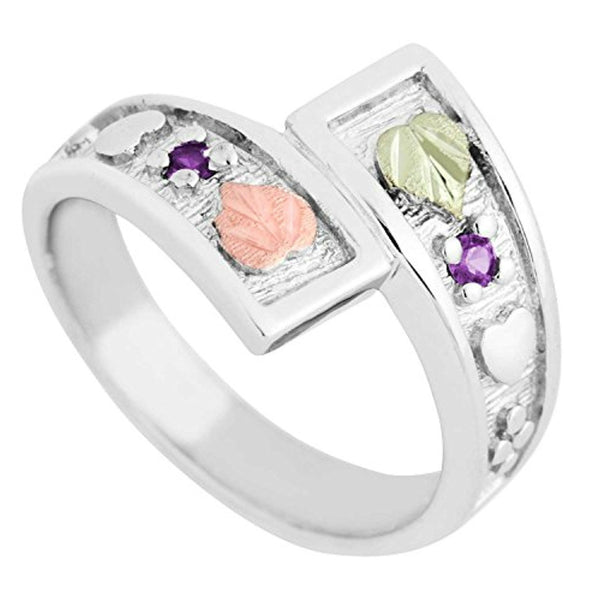 Rhodium-Plated Sterling Silver Synthetic Amethyst February Birthstone Bypass Ring, 12k Green and Rose Black Hills Gold