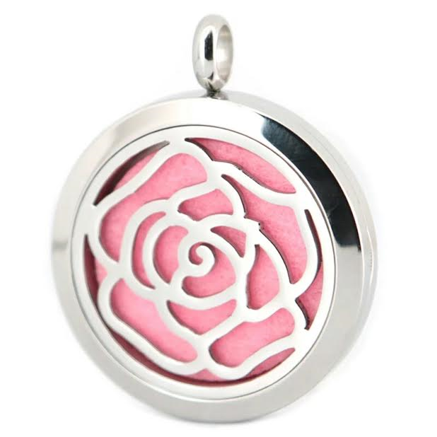 ROSE Flower Aromatherapy Stainless Steel Pendant Diffuser Necklace
