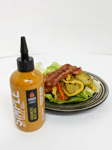Simple Habanero Mustard hot sauce on keto friendly meal