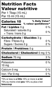 Apple n' Beer BBQ Sauce Nutritional Label