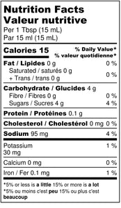 Bold & Smokey BBQ Grilling Sauce nutritional label