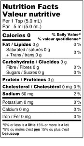 Simple Fiery Chipotle hot sauce nutritional label.
