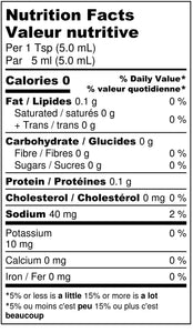 Simple Habanero Mustard Hot Sauce Nutritional Label