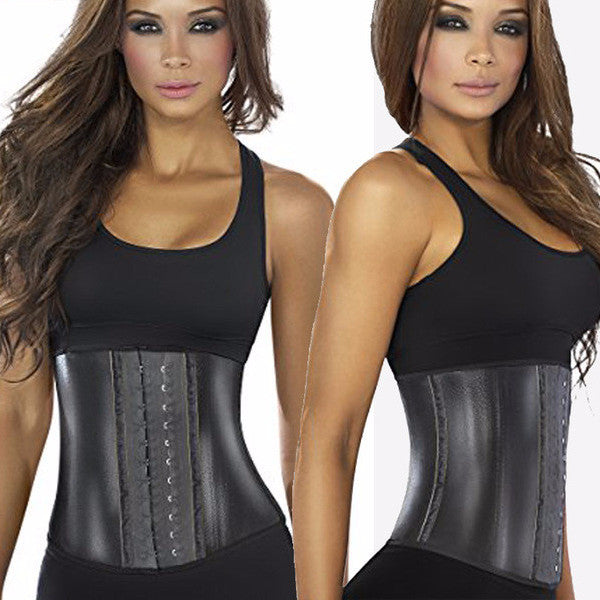 Metallic Edition Latex Waist Trainer Black - mydailybeautydeals