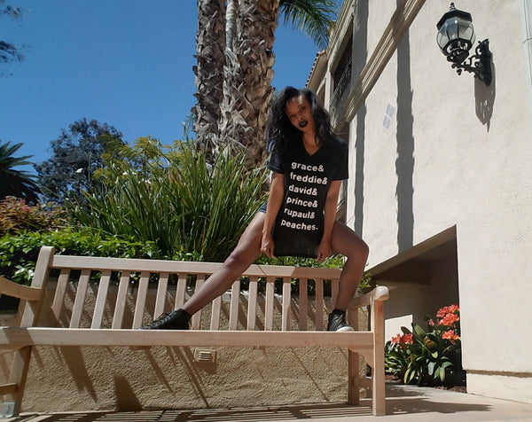 "Alexandria Boddie models the ""Under The Influence"" list tee in size medium."