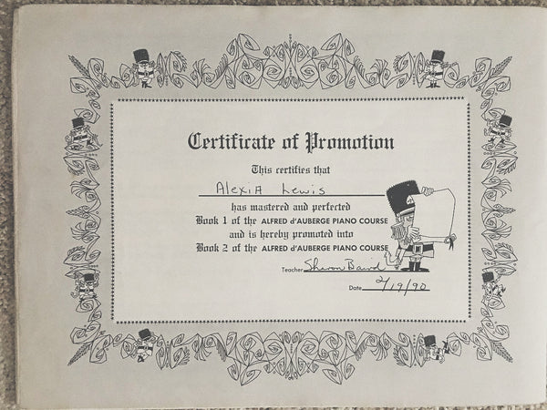 Alexandria Boddie's very first certificate of completion of level one piano lessons.