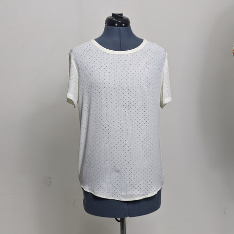 White Mesh-Patterned Blouse
