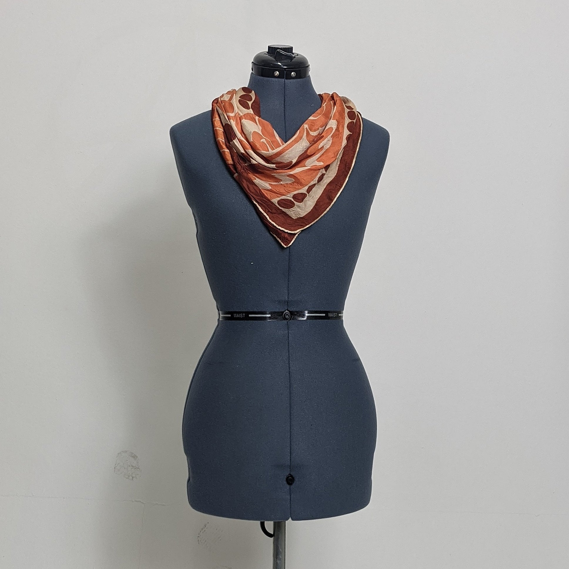 Monochromatic Vintage Patterned Satin Scarf