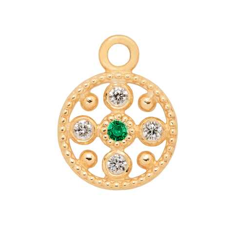 Hannah G Emerald Diamond Circle Charm