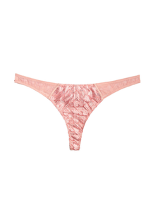 Fleur du Mal Houndstooth Embroidery Thong