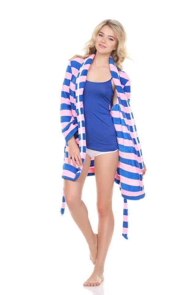 Cuddle Up Plush Robe-Honeydew Intimates-Cumulus Stripe-Medium-Honeydew Intimates