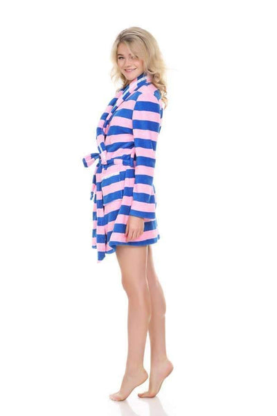 Cuddle Up Plush Robe-Loungewear-Honeydew Intimates-Cumulus Stripe-Medium-Honeydew Intimates