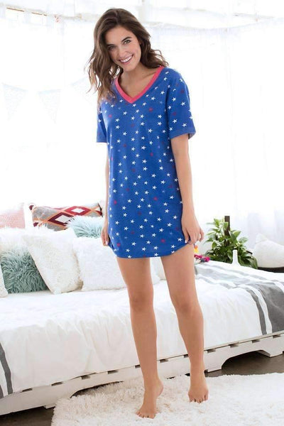 Chill Out Lounge Tunic-Sleepshirt-Honeydew Intimates-Lapis Stars-Small-Honeydew Intimates