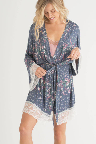 Back to Bed Jersey and Lace Robe-Loungewear-Honeydew Intimates-Summit Ditsy-Small-Honeydew Intimates