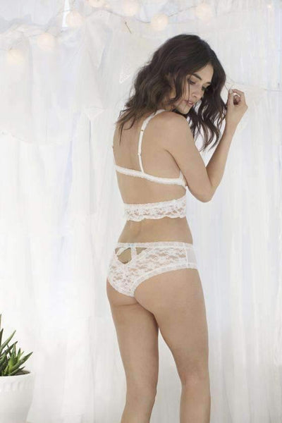 Mia Lace Hipster-Honeydew Intimates-White/Silver Foil Trim-Small-Honeydew Intimates