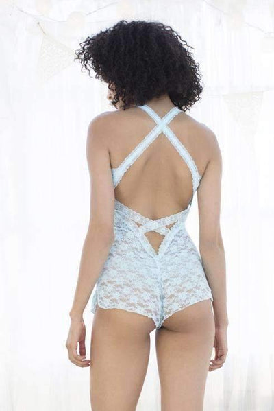 Mia Lace Teddy-Honeydew Intimates-White/Silver Foil Trim-Extra Small-Honeydew Intimates