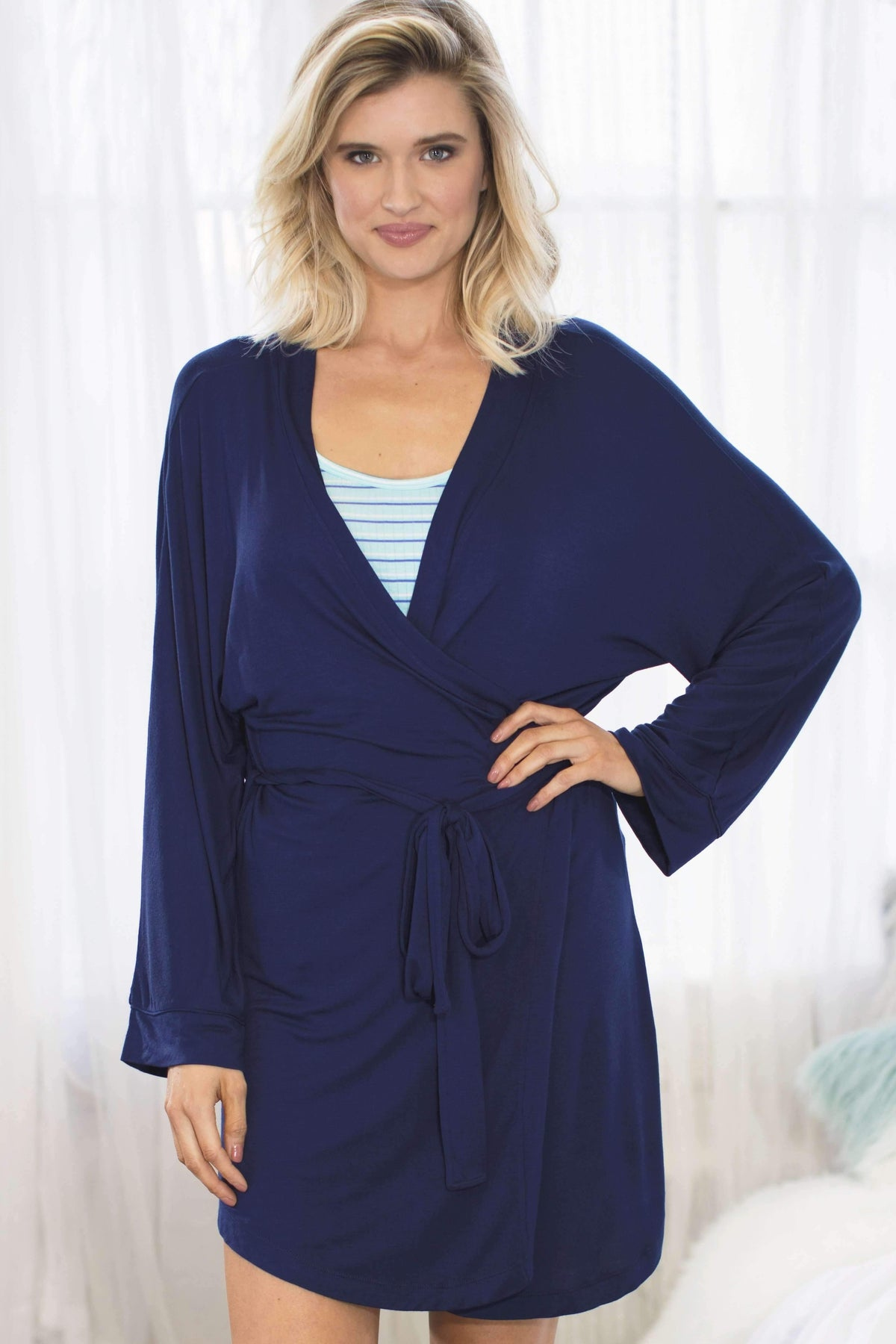Honeydew Intimates:All American Rayon Robe,Small / Navy