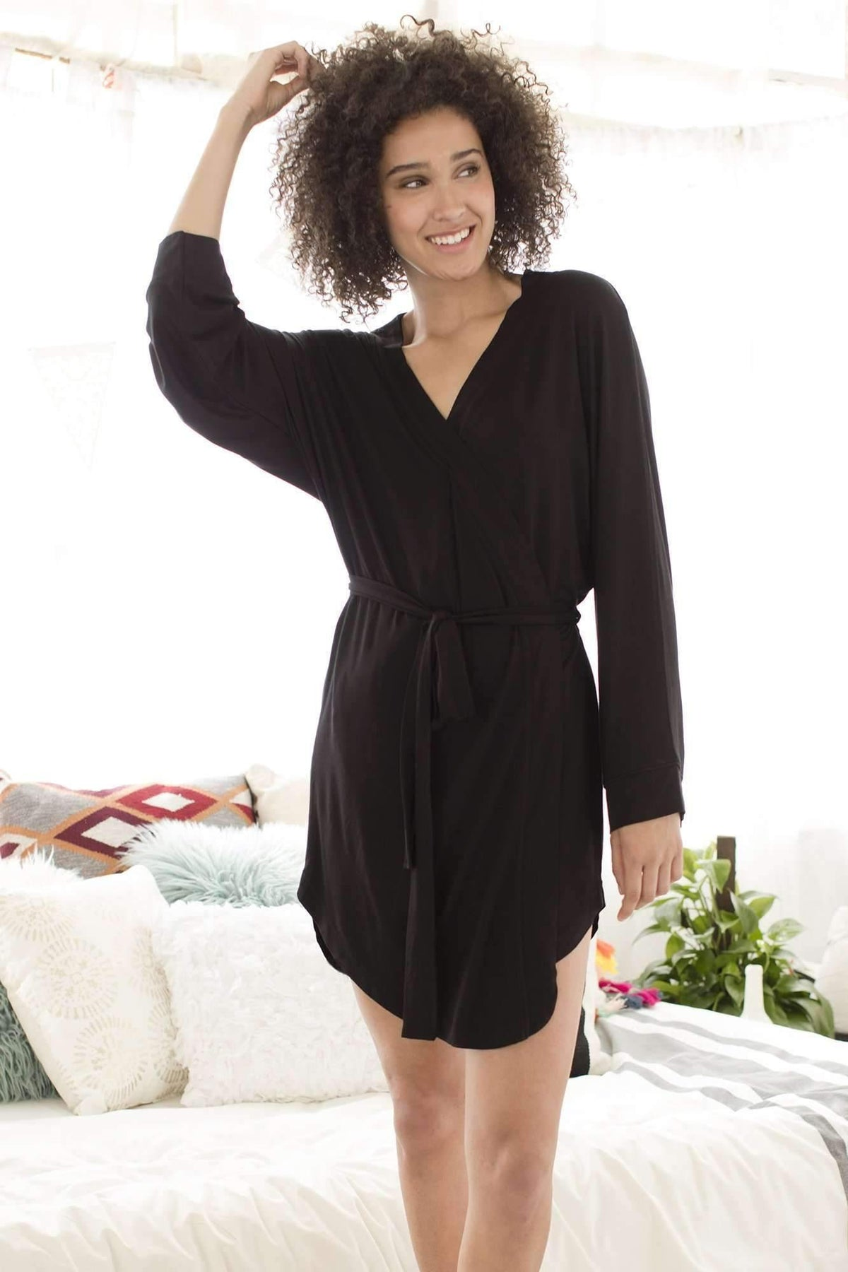 Honeydew Intimates:All American Rayon Robe,Small / Black