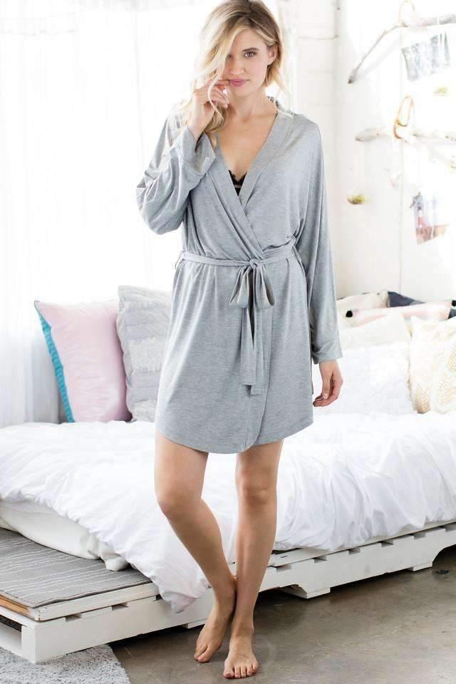 All American Rayon Robe-Sleepwear-Honeydew Intimates-Heather Grey-Small-Honeydew Intimates