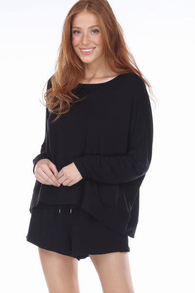 Starlight French Terry Lounge Sweatshirt-Sleepshirt-Honeydew Intimates-Black-Small-Honeydew Intimates