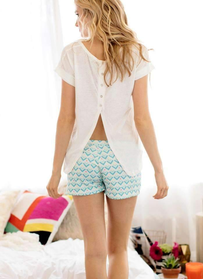Lay-Over Short-Loungewear-Honeydew Intimates-White Geo-Small-Honeydew Intimates