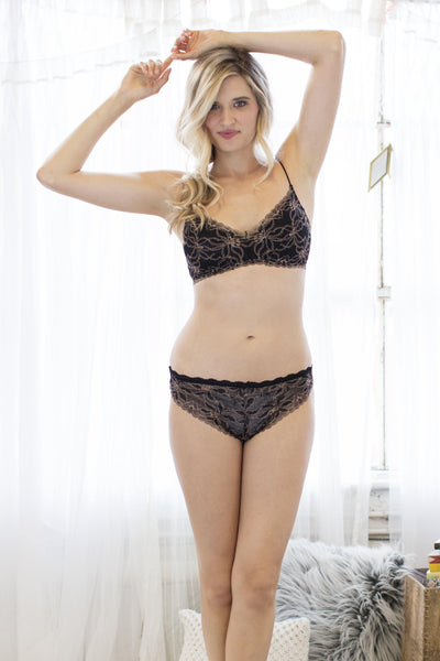 Camellia Lurex Bralette-Bralettes-Honeydew Intimates-Black-Small-Honeydew Intimates