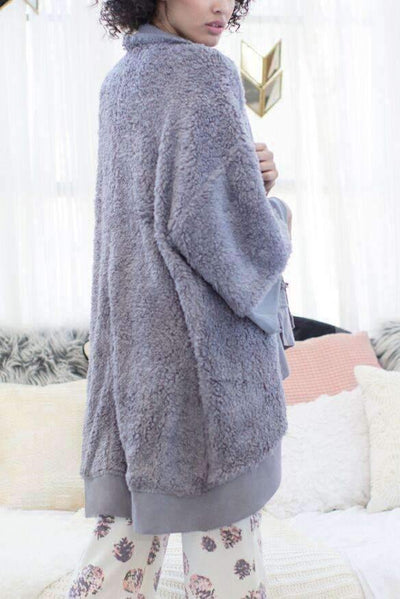 Hold Me Tight Knit Wrap-Sleepshirt-Honeydew Intimates-Grey-Medium/Large-Honeydew Intimates