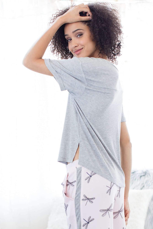 Breakaway Lounge Tee & Pant Set-Sleepshirt-Honeydew Intimates-Sake Dragonflies-Medium-Honeydew Intimates