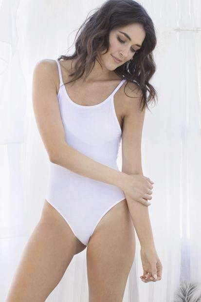 Evie Knit Bodysuit-Panty-Honeydew Intimates-White-Small-Honeydew Intimates