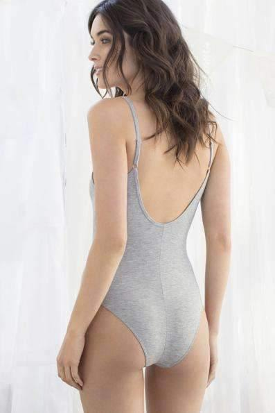 Evie Knit Bodysuit-Panty-Honeydew Intimates-Heather Grey-Small-Honeydew Intimates