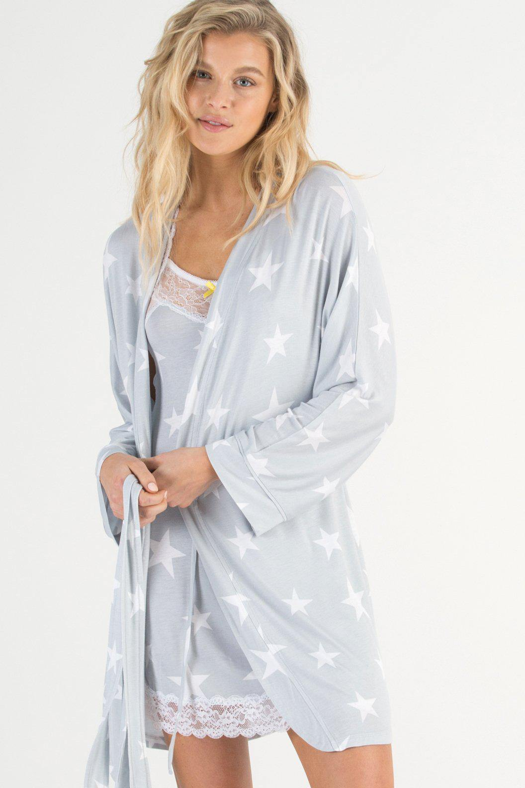 All American Rayon Robe-Sleepwear-Honeydew Intimates-Flint Stars-Small-Honeydew Intimates