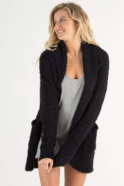 Novelty Knit Cardigan-Loungewear-Honeydew Intimates-Black-Small-Honeydew Intimates