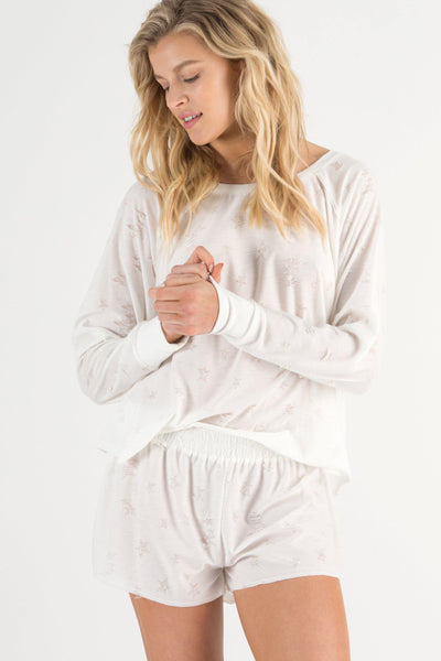 Starry Eyed Lounge Short-Loungewear-Honeydew Intimates-White-Small-Honeydew Intimates