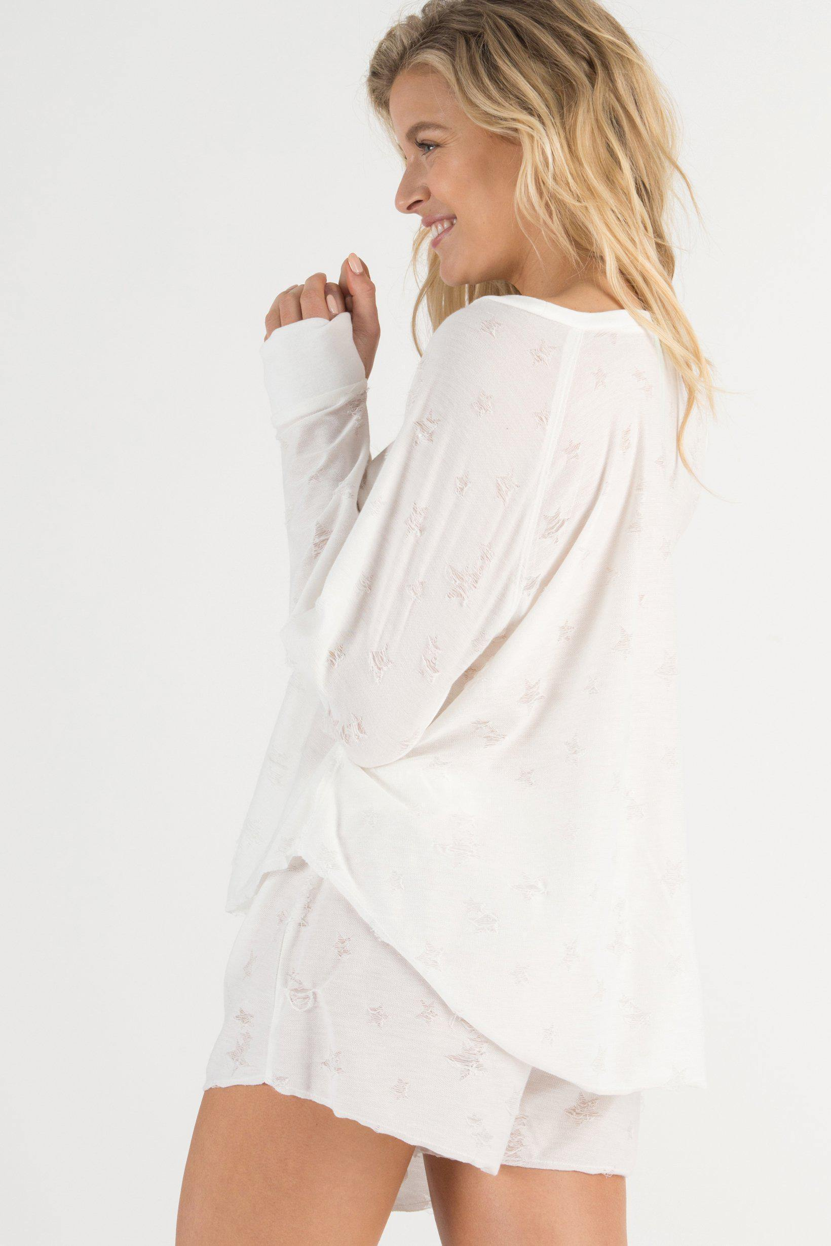 Starry Eyed Lounge Tee-Sleepwear-Honeydew Intimates-White-Small-Honeydew Intimates